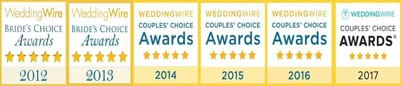 Black Tie Productions won WeddingWire Couples Awards from 2012-1017