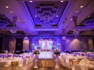 Awesome wedding back with back uplighting Blue