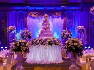 Awesome wedding back with back uplighting Blue 2