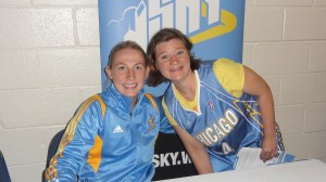 Duckie with one of her favorite Chicago Sky Players