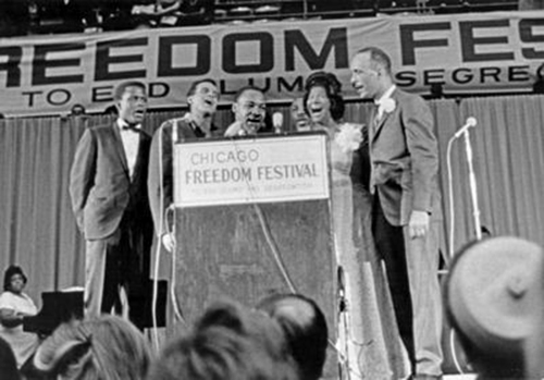 Black to the Music - Mahalia Jackson - B6 - Freedom Festival (Chicago), Sidney Poitier, Harry Belafonte, Martin Luther King Jr., Al Raby, Mahalia Jackson 1966 - (c) Bob Fitch