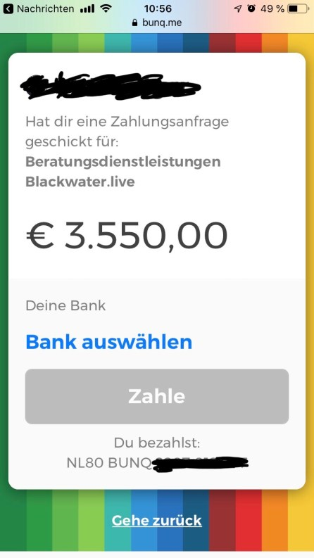 Blackwater.live - Bunq Geld anfordern per LINK