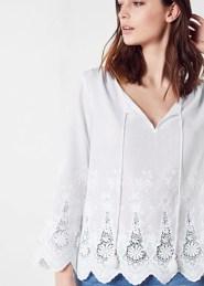 Comptoir des Cotonniers - Blouse en coton brodée Blanc