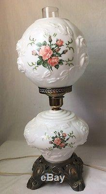 2 Gone W The Wind Puffy Rose Lamps Vintage Electric Milk
