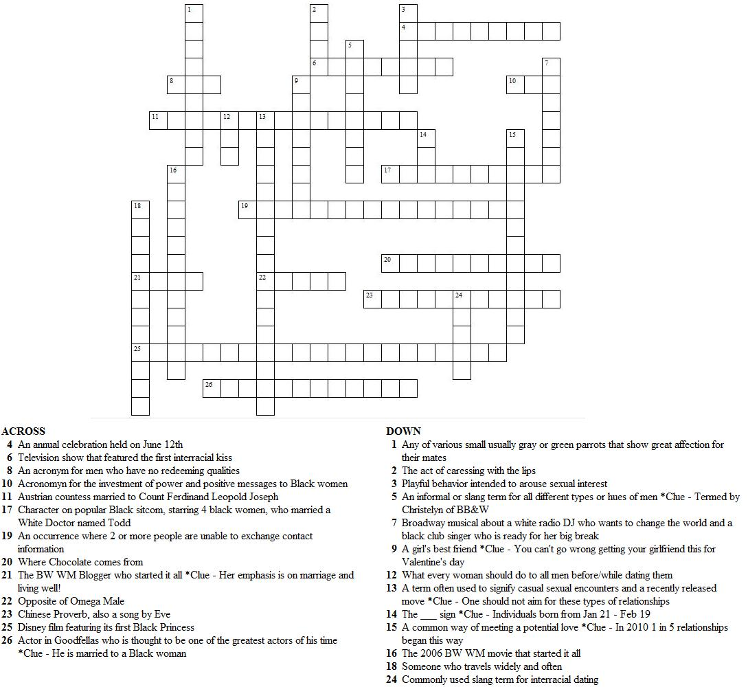 Answers To The V Day Crossword Puzzle