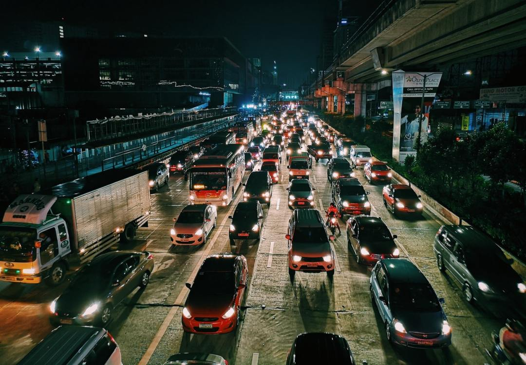 Time lapse of traffic during rush hour