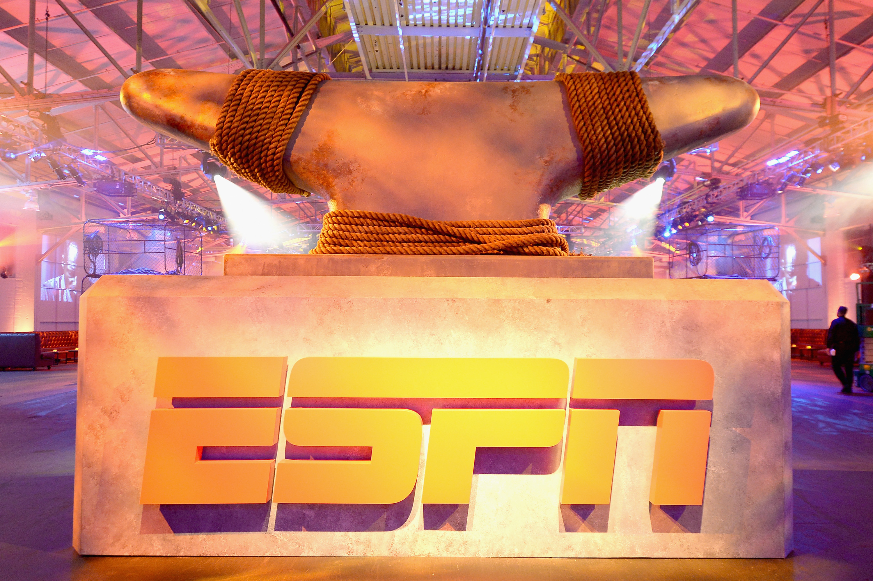 SAN FRANCISCO, CA - FEBRUARY 05: A view of the logo during ESPN The Party on February 5, 2016 in San Francisco, California.