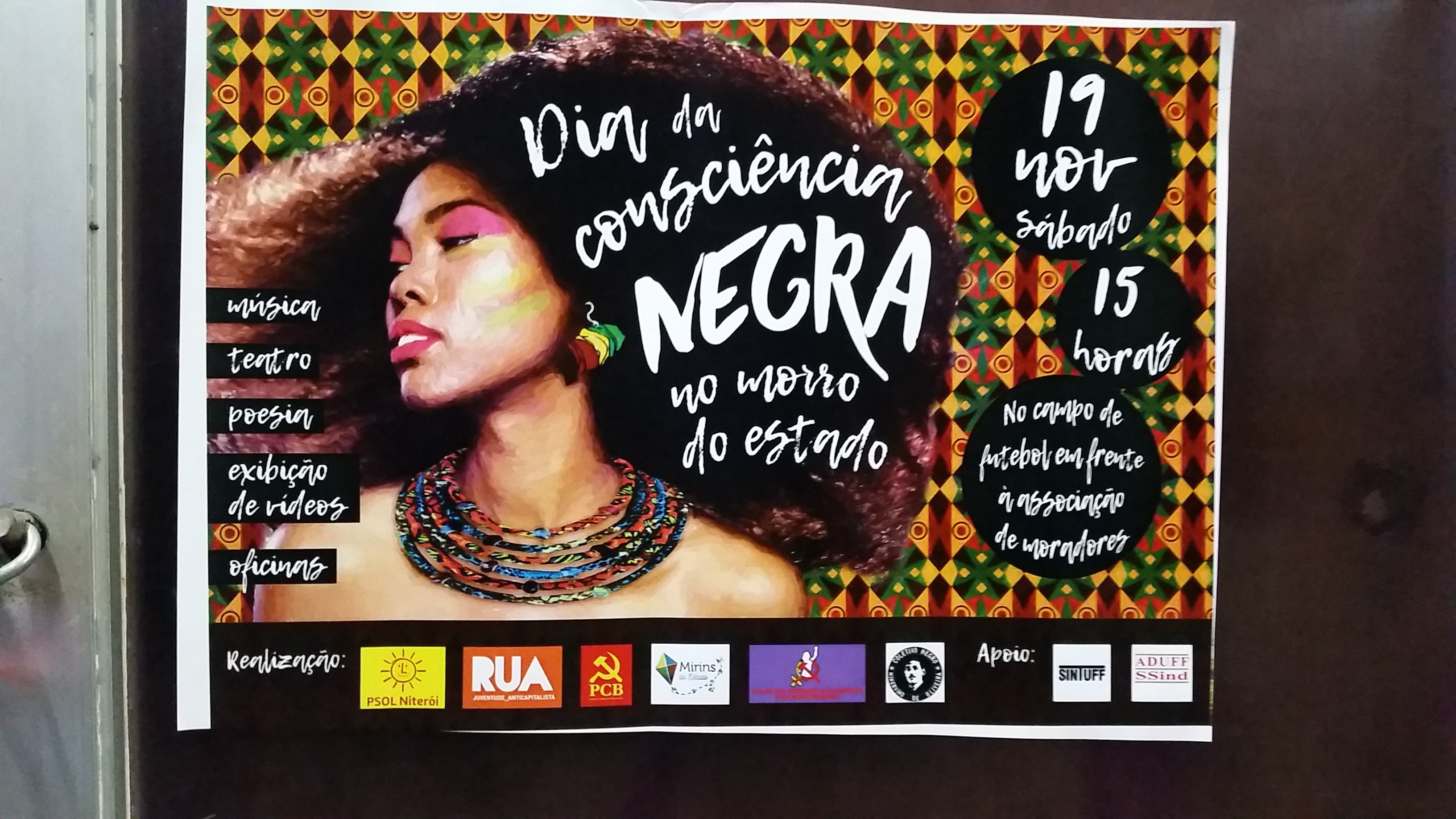 A poster describes a Day of Black Consciousness event with music, theater, poetry, video exhibitions that took place earlier in the year.(Photo by Kristian Davis Bailey)