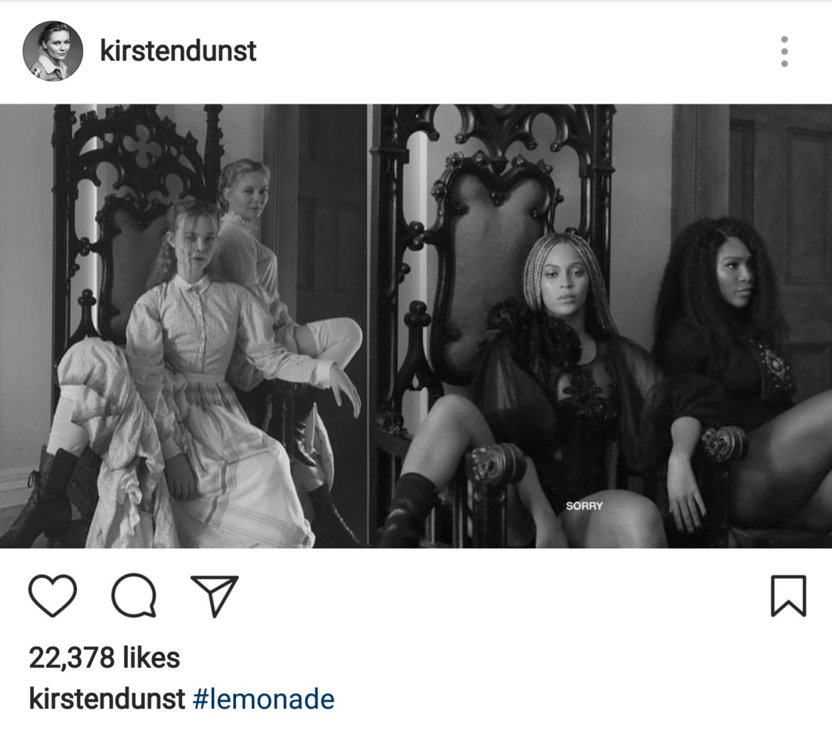 On june 17th dunst posted this image of the two actresses on instagram coinciding with the release of the film dunst and fanning are seated in the same