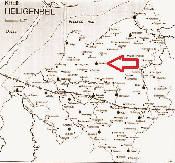 Bladiau im Kreis Heiligenbeil mit Kirchspielen und der Grenzziehung am 17. 10. 1945