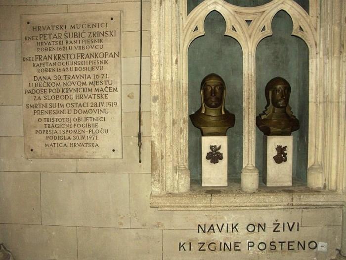 Kako bi ih se pokopalo u domovini, s uspomene na Petra Zrinskog i Frana Krste Frankopana prvo je trebalo skinuti žig veleizdajnika