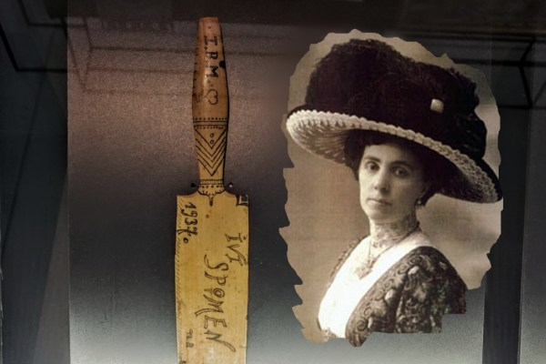 Na rastanku, Ivana Brlić - Mažuranić sinu Ivi darovala je i nož za papir koji je izradila na obalama  Save