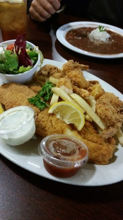 seafood platter, fried catfish & fried shrimp