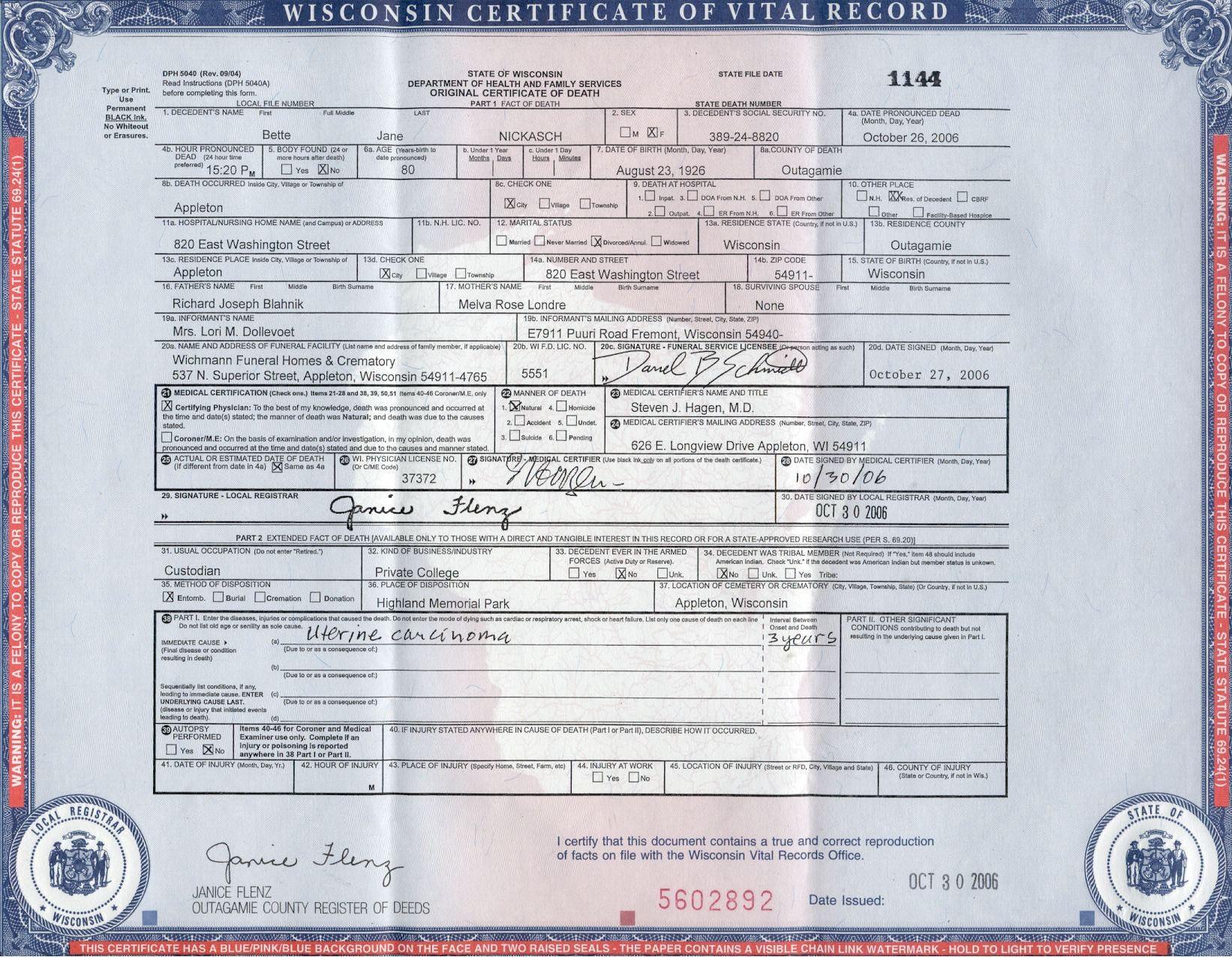 S Birth Certificate Wisconsin 70