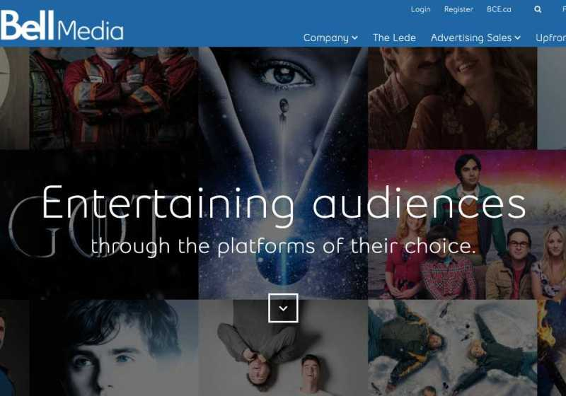 Bell Media website Home page