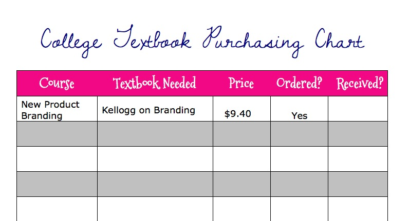 Organize Your College Textbook Orders {Free Printable}