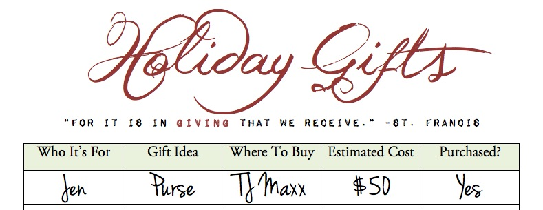 Organize Holiday Shopping {Free Printable}   Blair Blogs