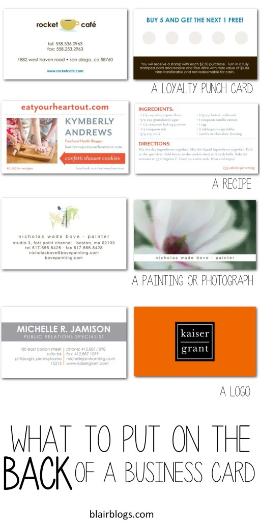 What to put on the back of business cards | Blair Blogs