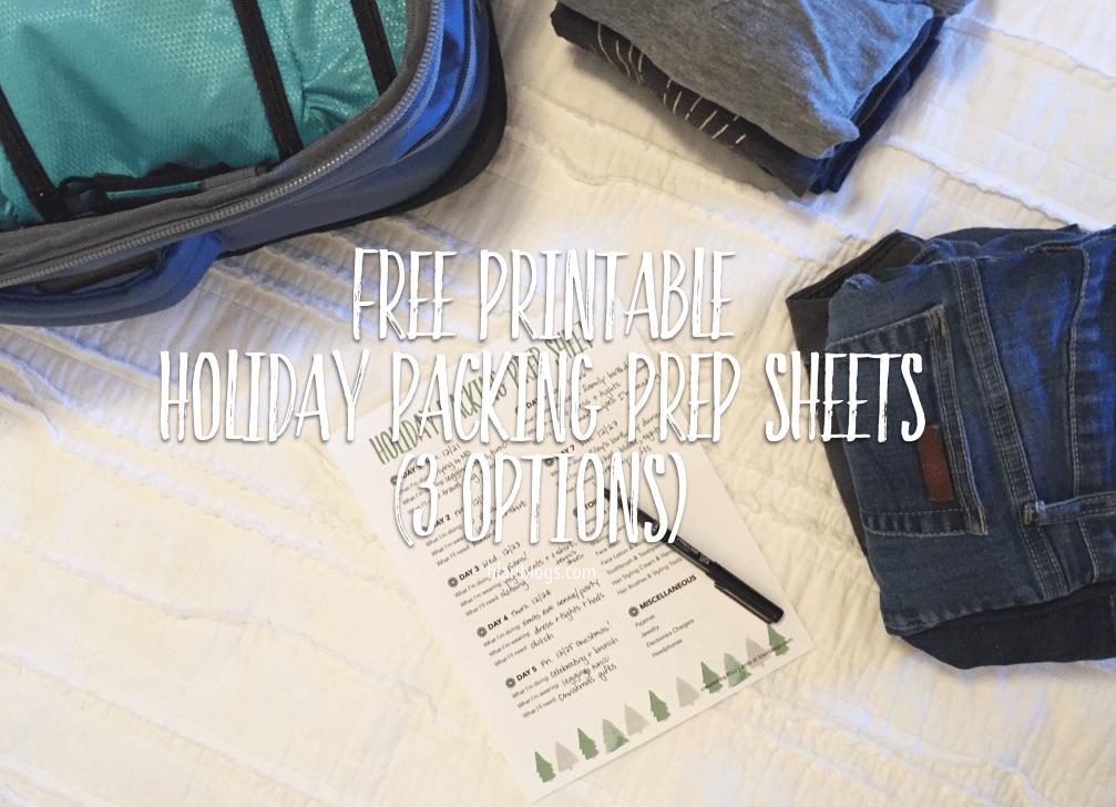 Free Printable Holiday Packing Prep Sheets | Blairblogs.com