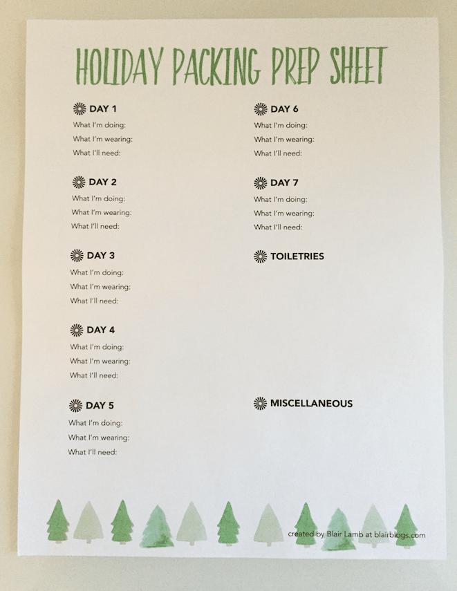 Free Printable Holiday Packing Prep Sheets   Blairblogs.com