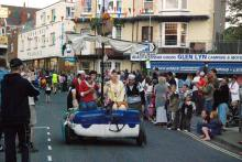 The 'Raft race' during Combe Martin's Carnival Week