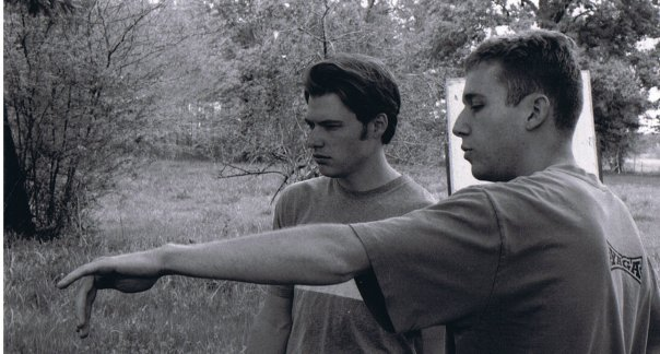 Blake Naleid directing with actor Marcus Lomas on the set of The Land