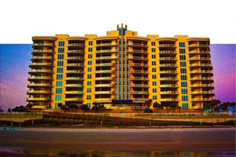 New Art Titled: Ocean Vistas Beach Condominiums Art II. Digital cutout photo Art edit of photo taken at sunrise on the beach, of the Ocean Vistas.
