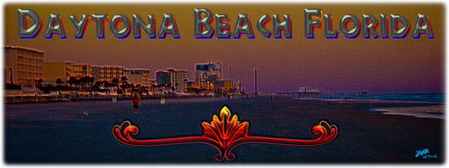 New Artwork Titled: Daytona Beach Florida At Sunrise Panoramic Photo Art. Panoramic photograph art edit of Daytona Beach at sunrise facing north of a long stretch of resorts and coastline up to the Daytona Beach Boardwalk. Daytona Beach Florida text art