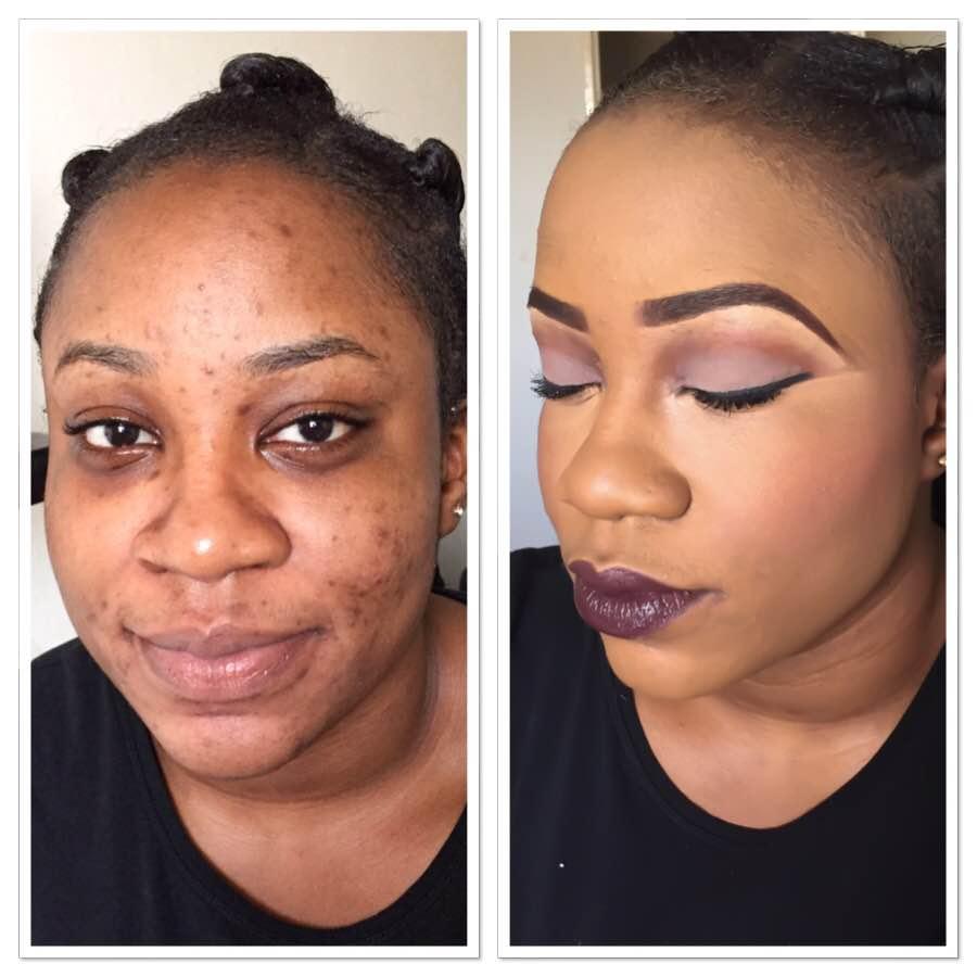 Maquillage prune Avant et Après