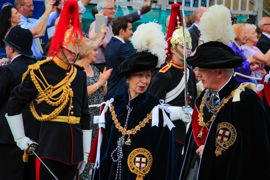 The Princess Royal talking with the Duke of Gloucester.