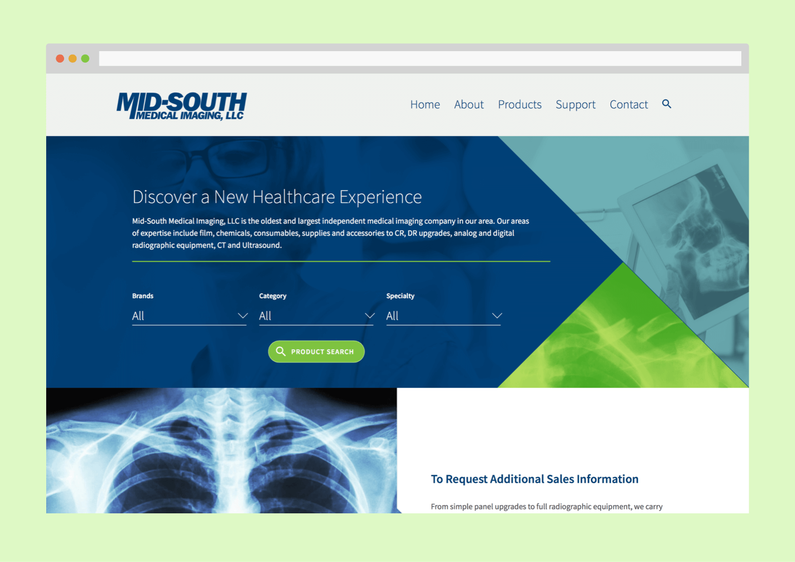 The Mid-South homepage prominently features a product search component