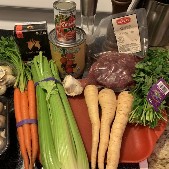 assembled ingredients for soup