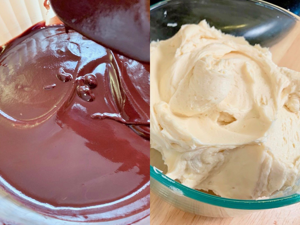 My Favorite Buttercream Frosting And Dark Chocolate Ganache  Two topping for brownies, cupcakes, and cakes. Ganache can be used as topping or filling. Buttercream is light and fluffy.