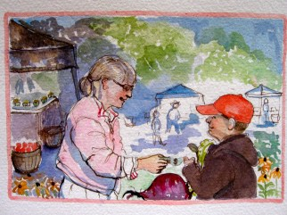 """This is the lady That loved to sautee That shopped with the people who smiled and said """" hey!"""" That waved to the boy That pulled the wagon That carried the beet That Tom grew."""
