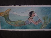Margot waved a white banner to her friends when she found the seaweed needed for her shawls.