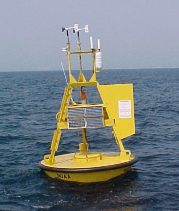 Weather buoys out at sea,...