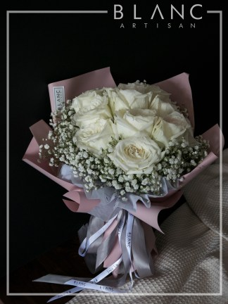VALENTINE'S DAY WHITE ROSE & BABY's BREATH BOUQUET