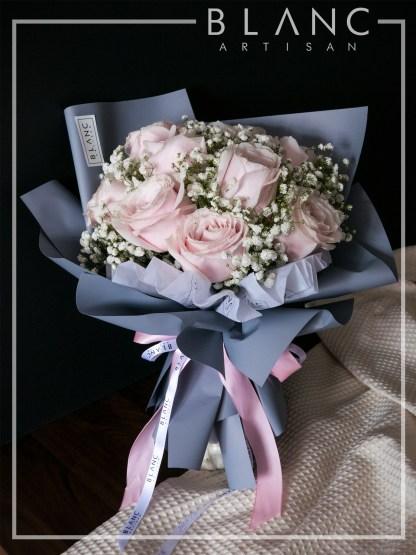 VALENTINE'S DAY PINK ROSE & BABY's BREATH BOUQUET