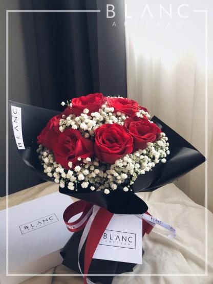Red Rose & White Baby's Breath - TOKYO