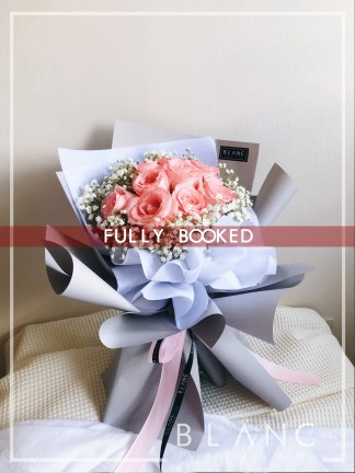 OSAKA – VALENTINE'S DAY PINK ROSE & WHITE BABY'S BREATH BOUQUET