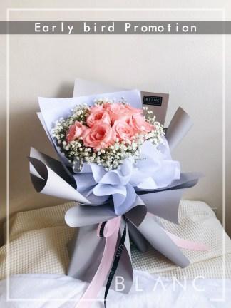 OSAKA – VALENTINE'S DAY PINK ROSE & WHITE BABY'S BREATH