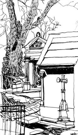 blandine galtier, dessin, encre, le père lachaise, paris
