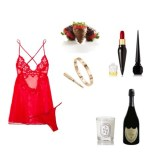 Underwear set: la Perla, Nails polish and Lipstick: CHRISTIAN LOUBOUTIN BEAUTY, Bracelet: Cartier, Strawberries: Godiva, Champagne: Dom Perignon, Candle: Diptyque
