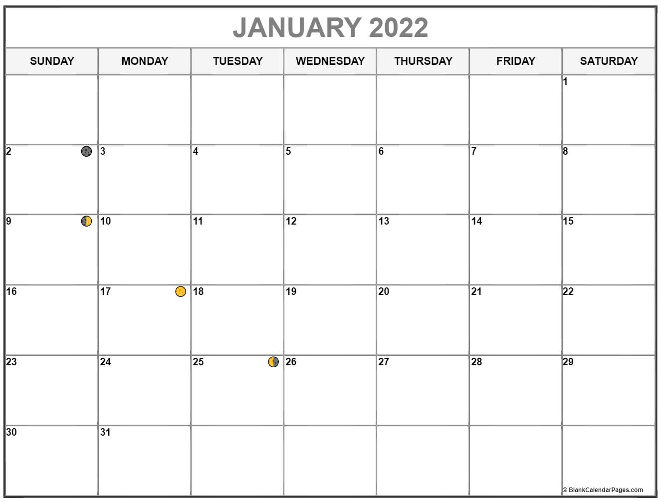 January Lunar Calendar