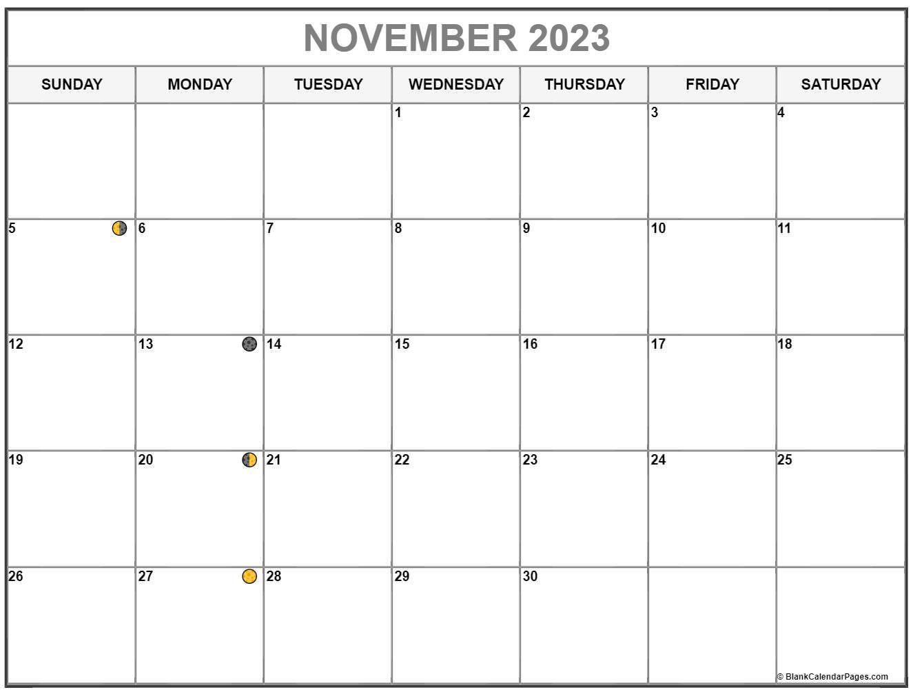 November Lunar Calendar