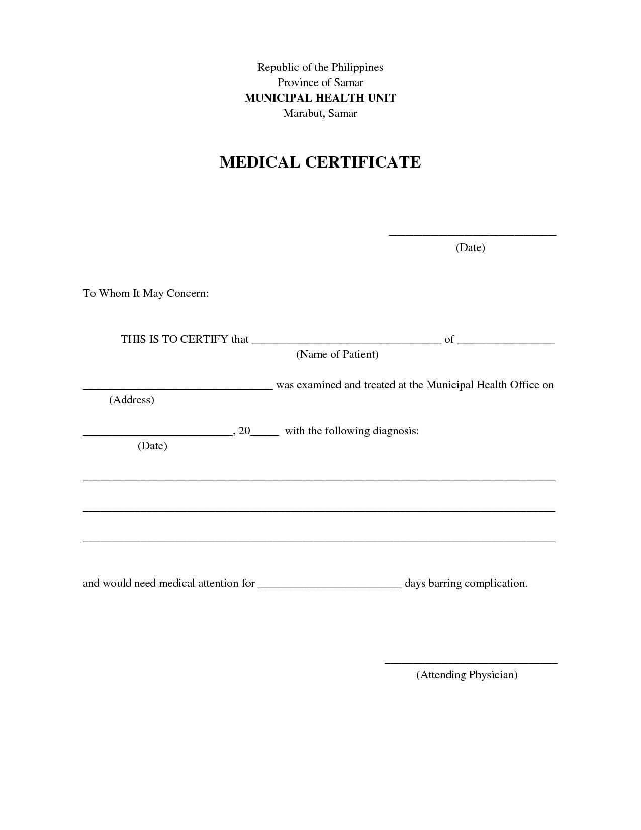 Doc585411 Medical Certificate Template Medical Certificate – Sample Medical Certificates