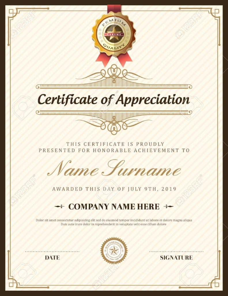 frame certificate appreciation
