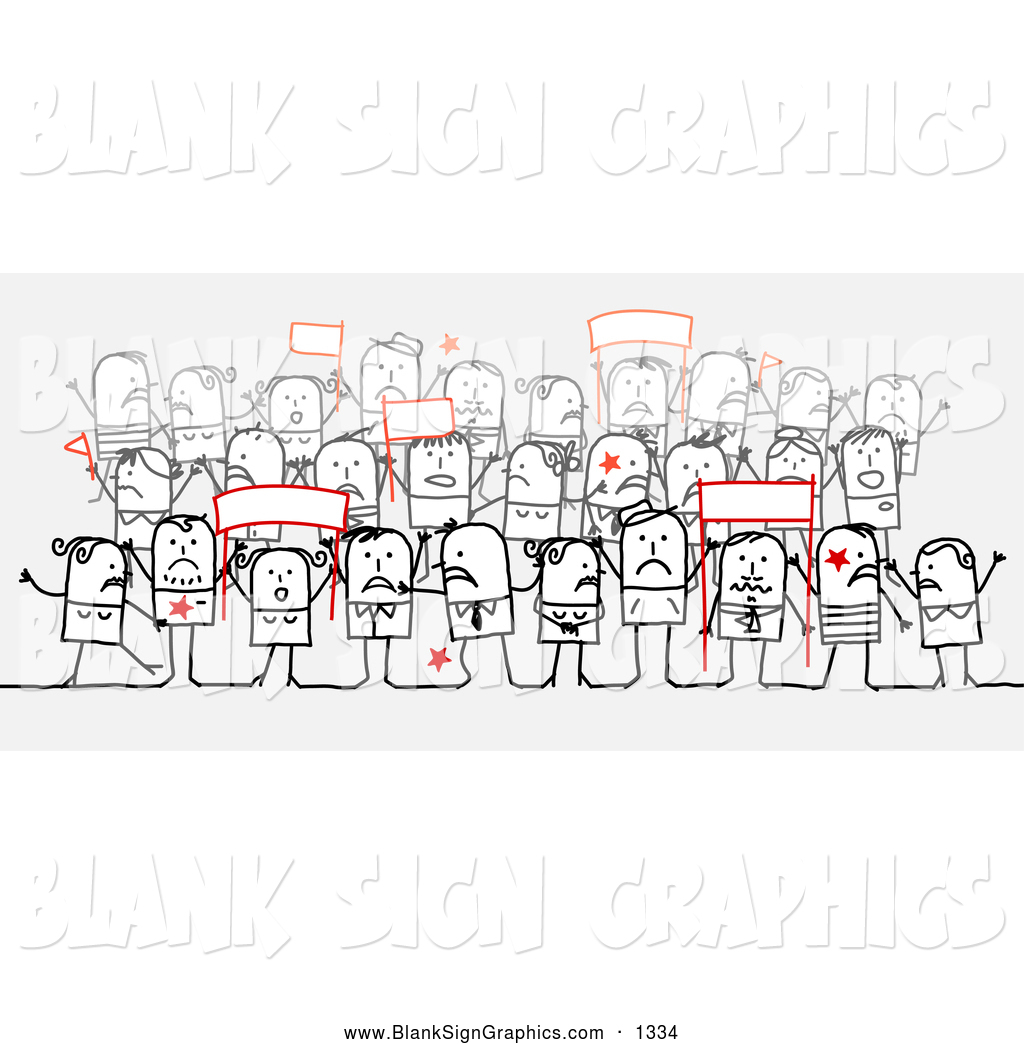 Vector Illustration Of A Group Of Stick People Character