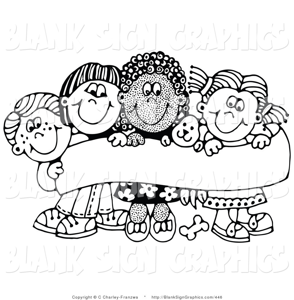 Vector Illustration Of Four Happy Children Smiling And