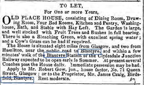 1849 advert in Herald